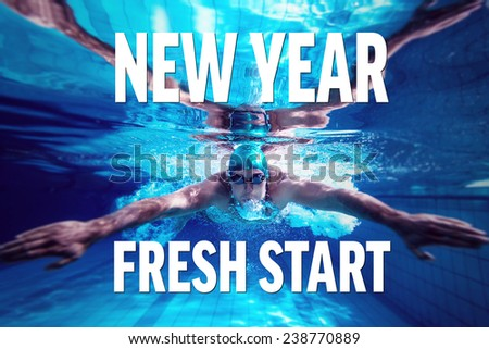 Fit swimmer training by himself against new year fresh start - stock photo