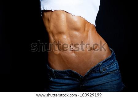 Fit tummy - stock photo