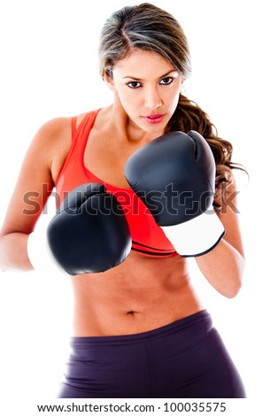 Fit woman boxing - isolated over a white background - stock photo