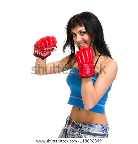 Fit woman boxing, isolated over a white background