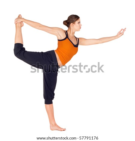 woman doing yoga exercise called trianga stock photo