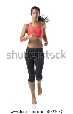 fit woman on white - stock photo
