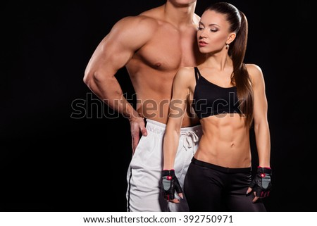 young fit woman bodybuilder couple fitness stock photo