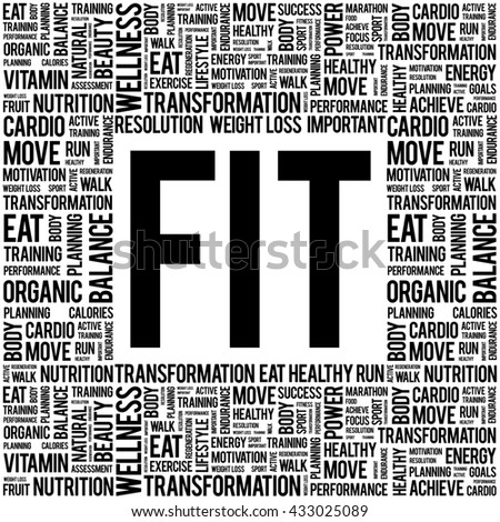 FIT word cloud background, health concept - stock photo