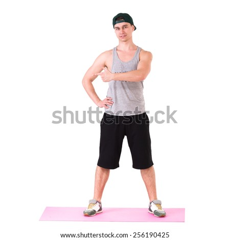 fit young man full length portrait isolated over white background - stock photo