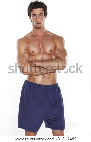 Fit Young Man in Shorts - stock photo