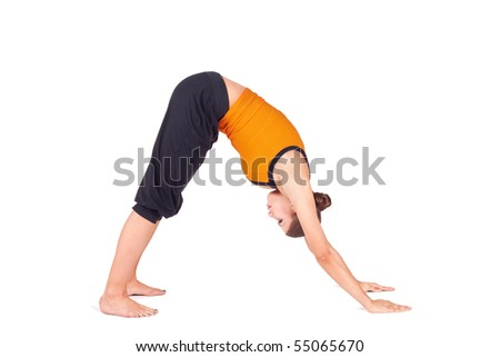 woman practicing first stage yoga pose stock photo