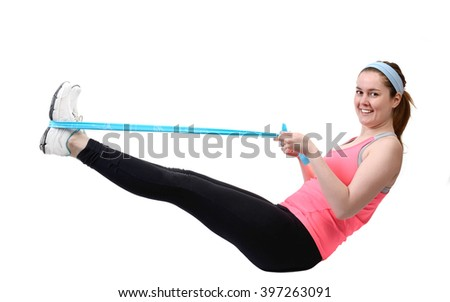 Fit young woman doing workout with physio latex tape. isolated on a white background
