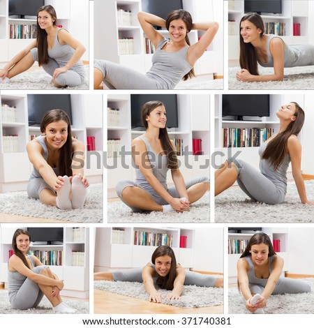 Fit Young Woman Exercising at home.Mosaic of Healthy lifestyle concept.