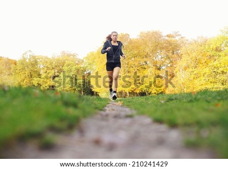 Fit young woman jogging in a park on a summer day. Healthy female athlete exercise running in park - Outdoors - stock photo
