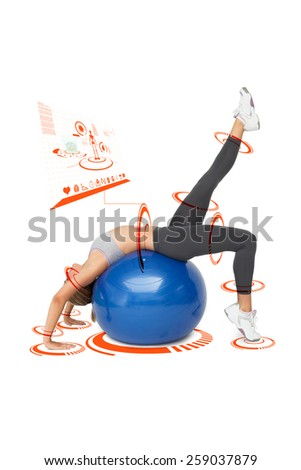 Fit young woman stretching on fitness ball against fitness interface - stock photo