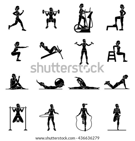 Fitness, Aerobic  and workout exercise in gym. Set of gym icons in flat style isolated on white background. People in gym. Gym equipment, dumbbell, weights, treadmill, ball. - stock photo