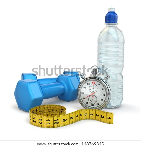 Fitness and dietimg concept. Stopwatch,  dumbbells and water. 3d - stock photo