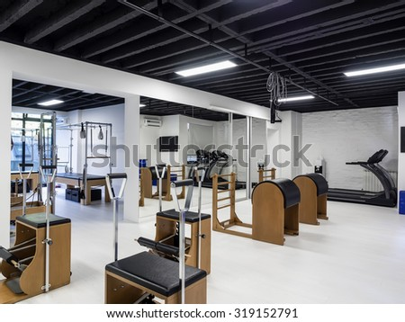 Fitness and gym interior and equipment