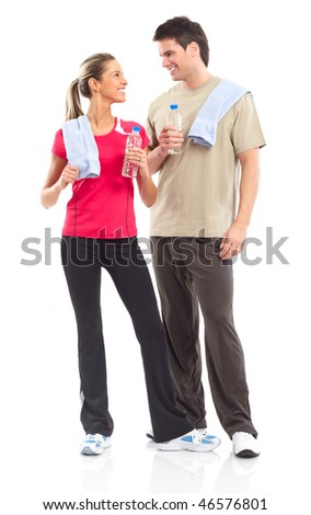 Fitness and gym. Smiling young  strong man and woman. Isolated over white background - stock photo
