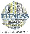 Fitness and health concept in word tag cloud on white background - stock photo