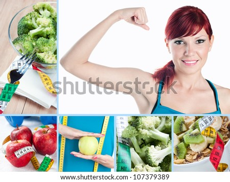 Fitness and healthy eating, collage - stock photo