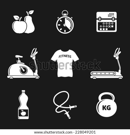 Fitness and sport icons  - stock photo