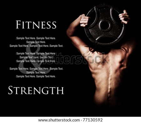 Fitness and Strength of a Woman's Back Lifting Weights with Text Space to the left - stock photo