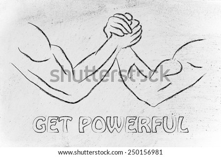 fitness and strength training: arm wrestling challenge illustration, get powerful