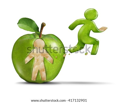 Fitness apple active healthy lifestyle as a green apple with a person shape peeled off the skin of the fruit shaped as a jogger or runner breaking away from the food in a 3D illustration style. - stock photo