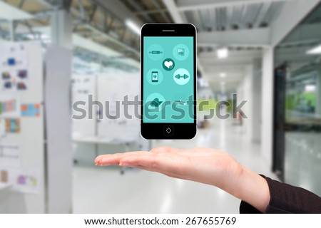 Fitness apps against college hallway - stock photo