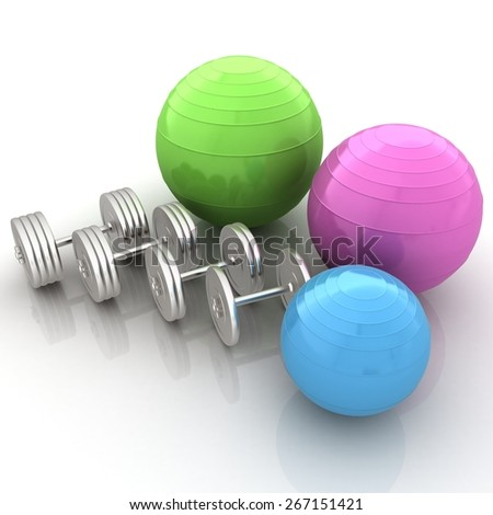 Fitness ball and dumbell - stock photo