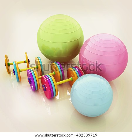 Fitness ball and dumbell. 3D illustration. Vintage style.