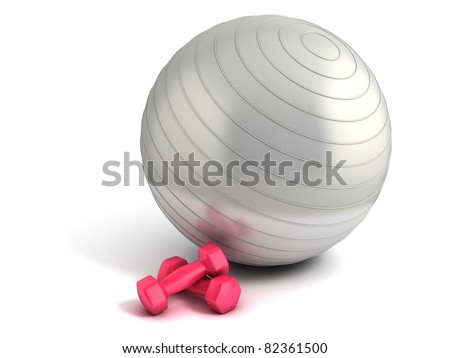 fitness ball and weights isolated - stock photo