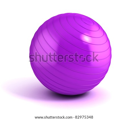fitness ball isolated on white - stock photo