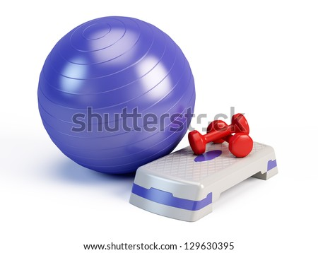 Fitness ball, weights and fitness step board - stock photo