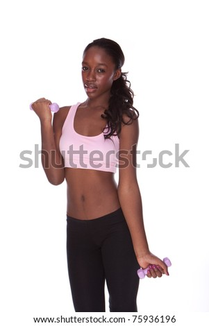 fitness black african woman during exercises on white background