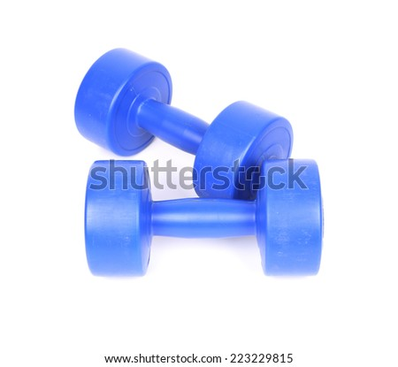 fitness blue dumbbell on a white background