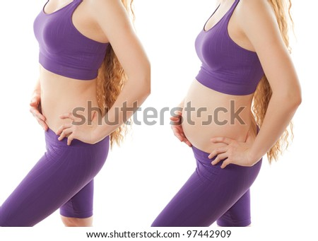 fitness body of slim sport woman and pregnant woman isolated on white background