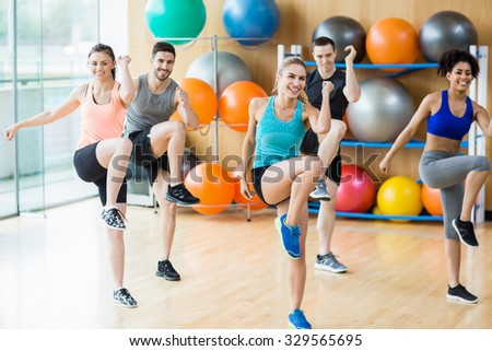 Fitness class exercising in the studio at the gym - stock photo
