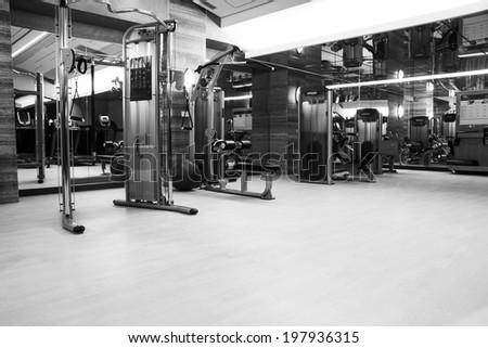 Fitness club in luxury hotel - stock photo