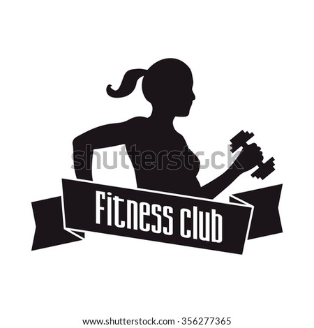 Fitness club logo with woman silhouette. Illustration isolated on white background.