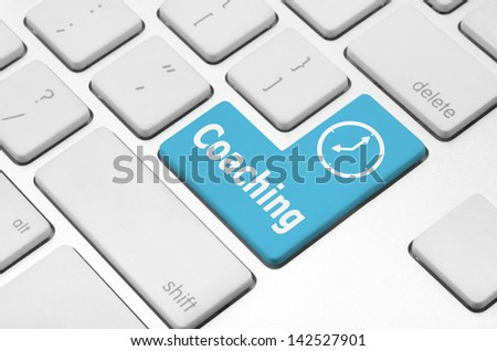 Fitness concept: Coaching key on the computer keyboard - stock photo