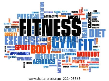 Fitness concepts word cloud illustration. Word collage concept. - stock photo