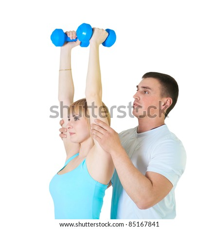 Fitness couple isolated over white background - stock photo