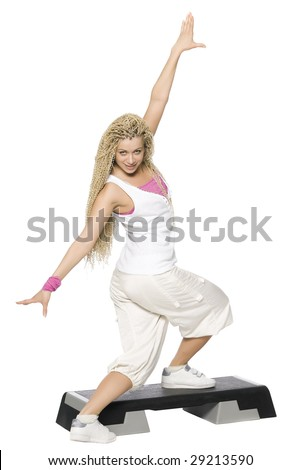 Fitness dance. Isolated on white - stock photo