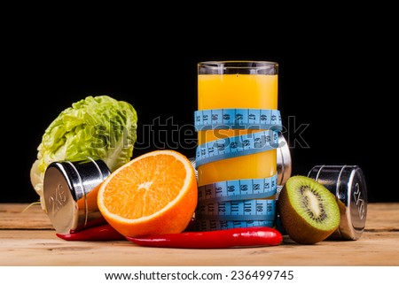 fitness equipment and healthy food  - stock photo