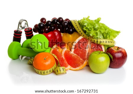 fitness equipment and healthy food isolated on white  - stock photo