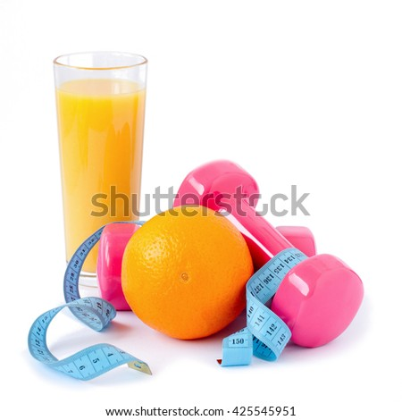 fitness equipment and healthy food isolated on white background - stock photo