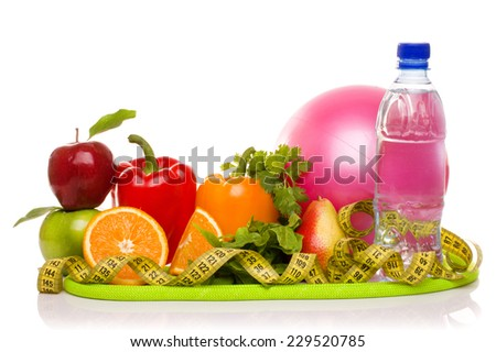 fitness equipment and healthy food isolated on white (green and red apples, pepper, salad,orange, pear, measuring tape, jump rope,ball ) - stock photo