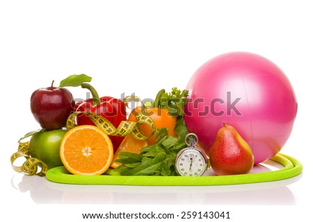 fitness equipment and healthy food isolated on white (green and red apples, pepper, salad,orange, pear, measuring tape, jump rope, ball)