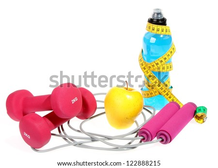 Fitness equipment ,dumbbell - stock photo