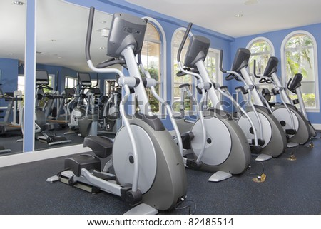 fitness equipment, gym, health club - stock photo