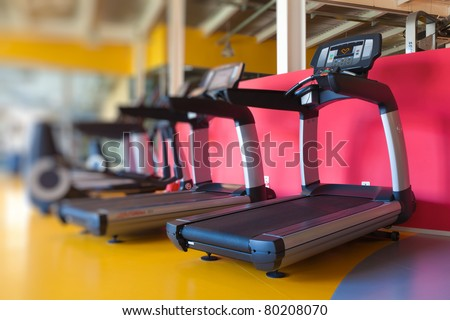 Fitness equipment in the gym - stock photo