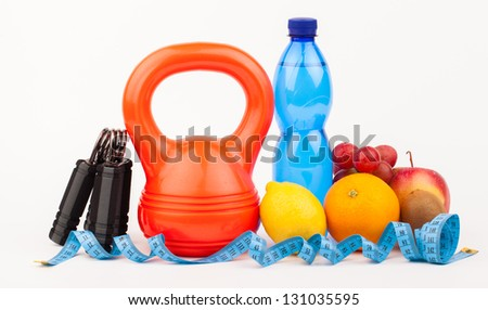 fitness equipment isolated on white - stock photo